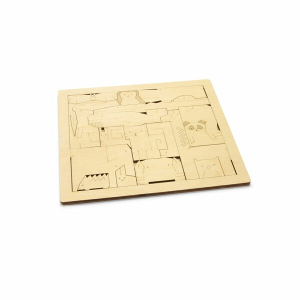 Houten kinderpuzzel bestaande uit 19 verschillende dieren